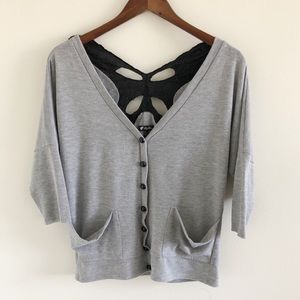 Lily White Butterfly Open Back Gray Cardigan S